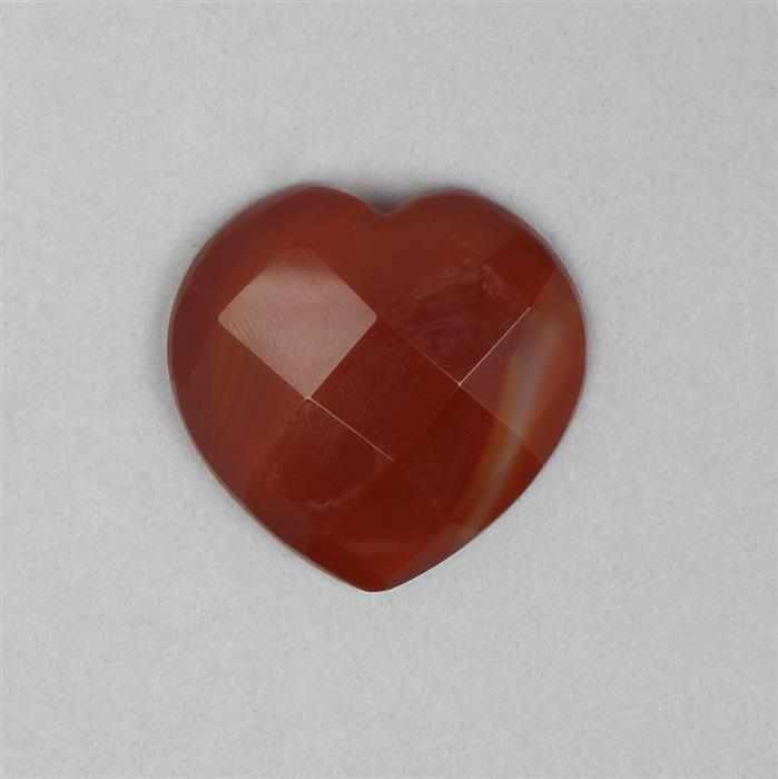 40cts Red Stripe Agate Faceted Cabochon Heart Approx 35mm