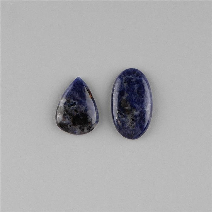 48cts Sodalite Multi Shape Cabochons Assortment.