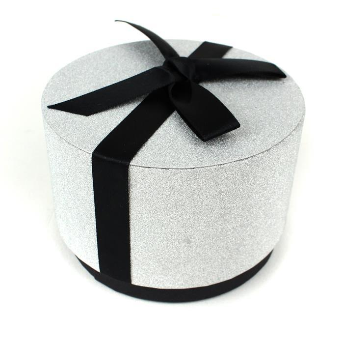 Large Silver Glitter Tub + Bow 100x65mm (WxD)