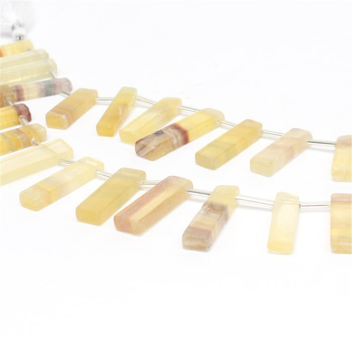 See You At The Bar! 2x 146cts Yellow Fluorite Graduated Plain Bars Approx 13x6 to 29x7mm