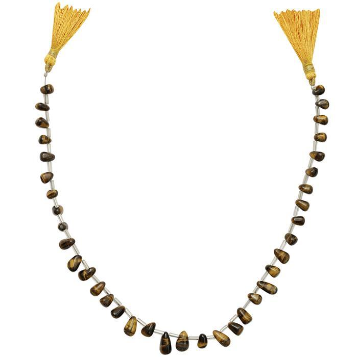75cts Tigers Eye Graduated Irregular Plain Drops Approx From 6x4 to 11x5mm, 32cm Strand.