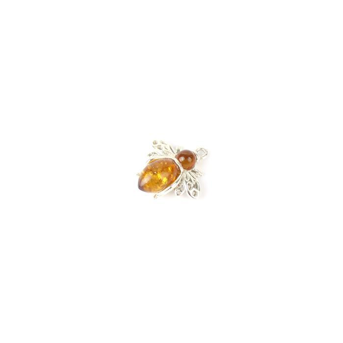 925 Sterling Silver Baltic Cognac Amber Bee Pendant Approx 15x16mm