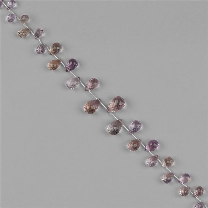 95cts Ametrine Graduated Faceted Drops Approx 6x4 to 13x9mm, 20cm Strand.