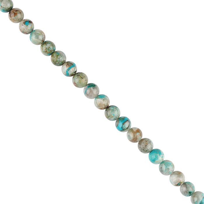 85cts Chrysocolla Graduated Plain Rounds Approx 8mm, 18cm Strand.