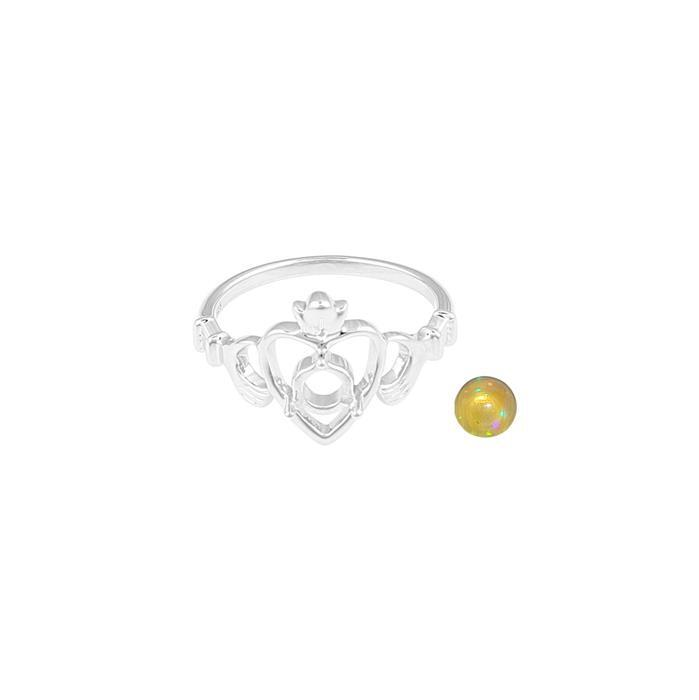 Size 7 925 Sterling Silver Claddagh Ring Mount Fits 5mm Round Inc. 0.33cts Ethiopian Opal 5mm Round Cabochon