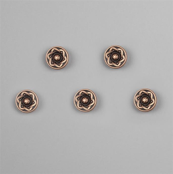 Antique Bronze Plated Base Metal Buttons (Alloy) Approx 14.5mm (5pcs/set)
