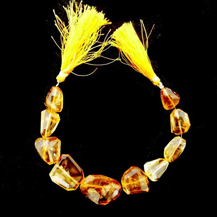 140cts Citrine Graduated Faceted Medium Nuggets Approx 12x10 to 21x15mm, 17cm Strand.