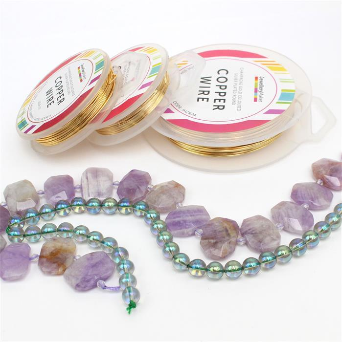 Amethyst Dreams; 350cts Light Amethyst Slabs, 170cts Green Coated Clear Quartz 8mm & Wire