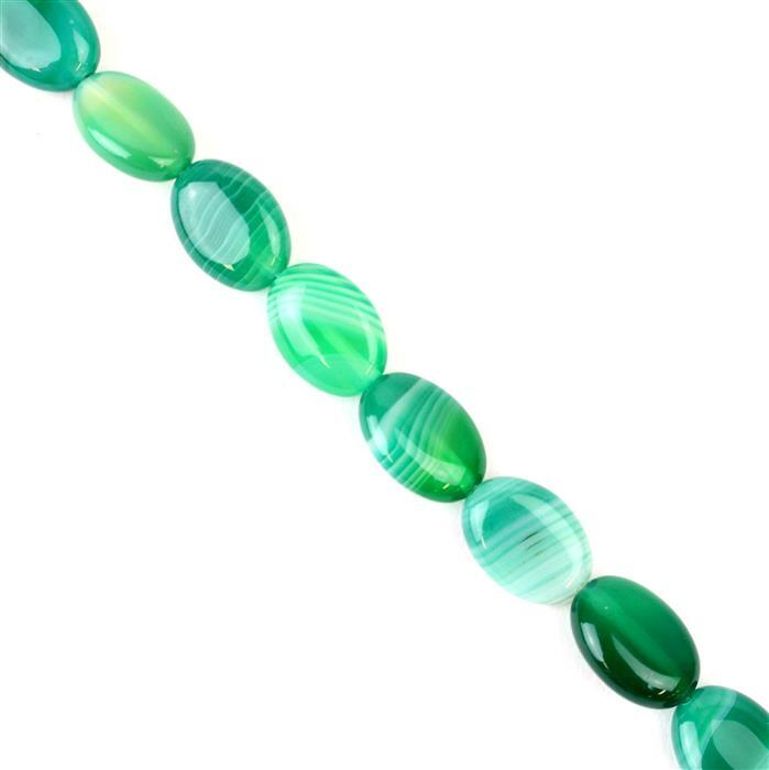 120cts Green Stripe Agate Puffy Ovals Approx 10x14mm, 38cm/strand