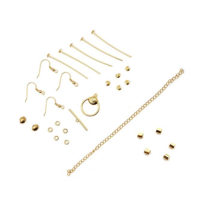 Gold Plated Base Metal Sea Shell Findings Pack (28pcs)