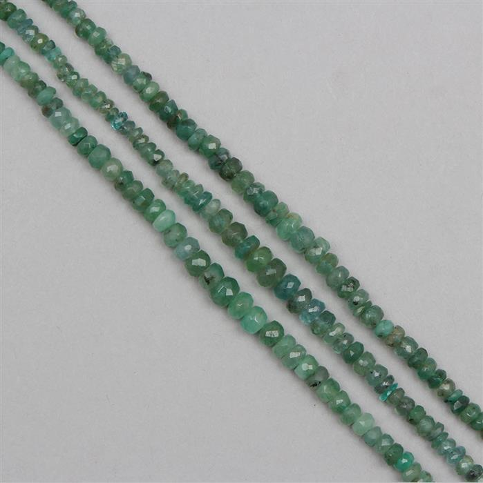 42cts Global Emerald - Brazilian, Zambian & Colombian Emerald Graduated Faceted Rondelles Approx From 2x1 to 5x2mm, 12cm Strand.