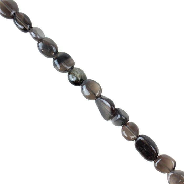110cts Smokey Obsidian Nuggets Approx 7x8 to 14x10mm, 38cm strand
