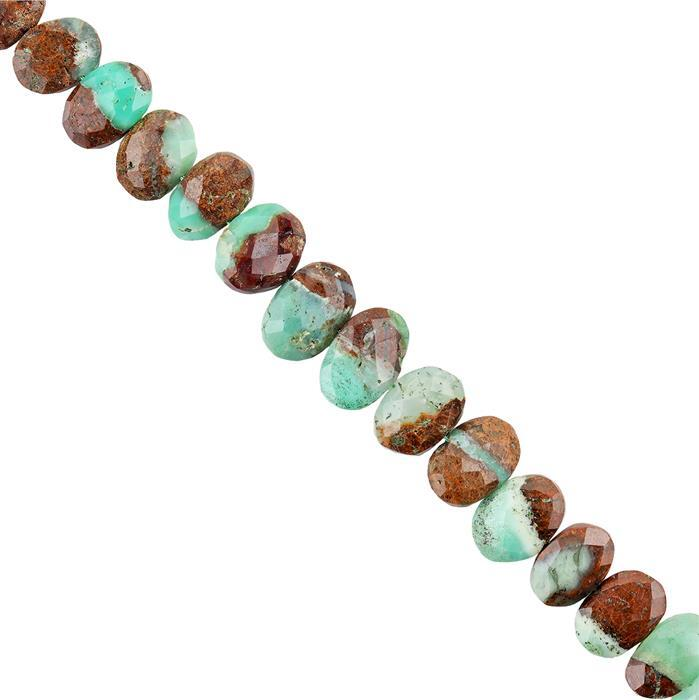 105cts Bi Coloured Chrysoprase Graduated Faceted Center Drilled Ovals Approx 10x8 to 15x10mm, 18cm Strand.
