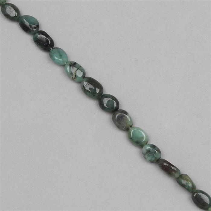 65cts Emerald Graduated Irregular Plain Ovals Approx 6x5 to 10x6mm, 31cm Strand.