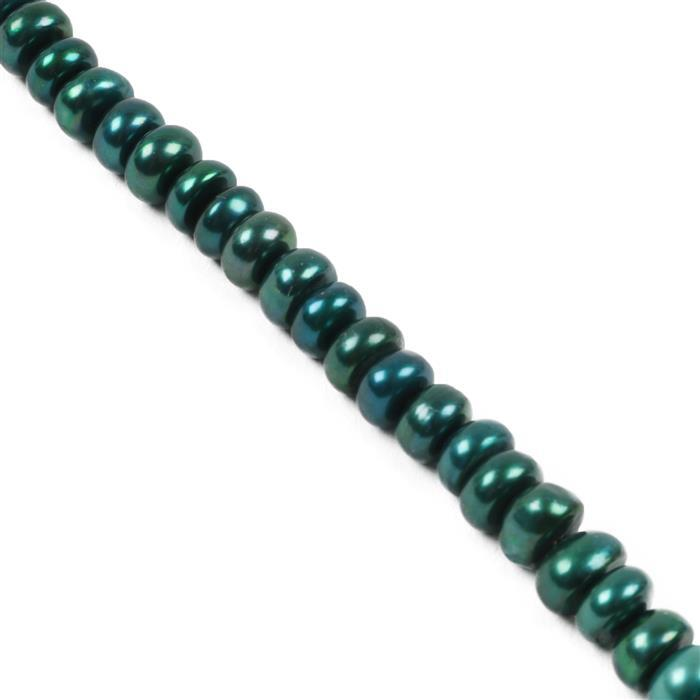 Teal Freshwater Cultured Pearl Buttons Approx 9x7mm, Approx 17cm Strand