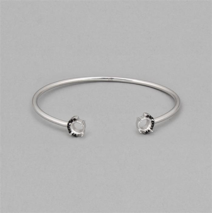 925 Sterling Silver Bangle Mount Fits 6.25mm Round with 0.10cts Black Spinel Approx 1mm Round