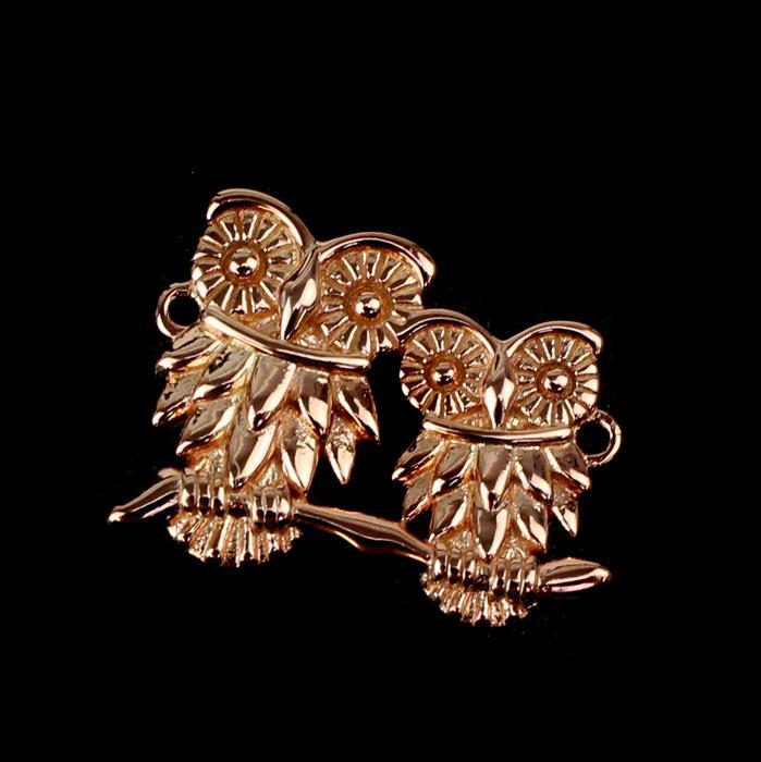 Rose Gold Plated 925 Sterling Silver Our Mommy & Baby Owl Conncetor 20mm 1pk
