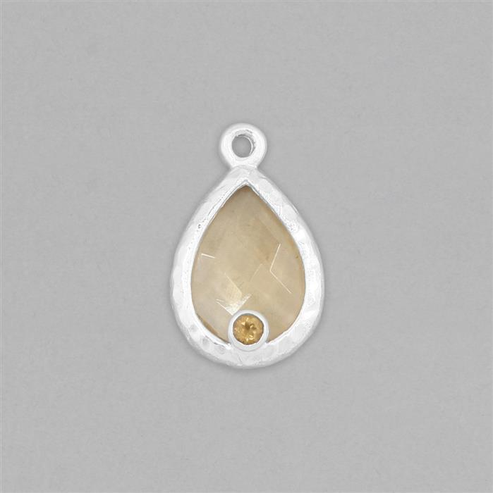 925 Sterling Silver Gemset Textured Bezel Pendant Approx 21x13mm Inc. 6cts Citrine