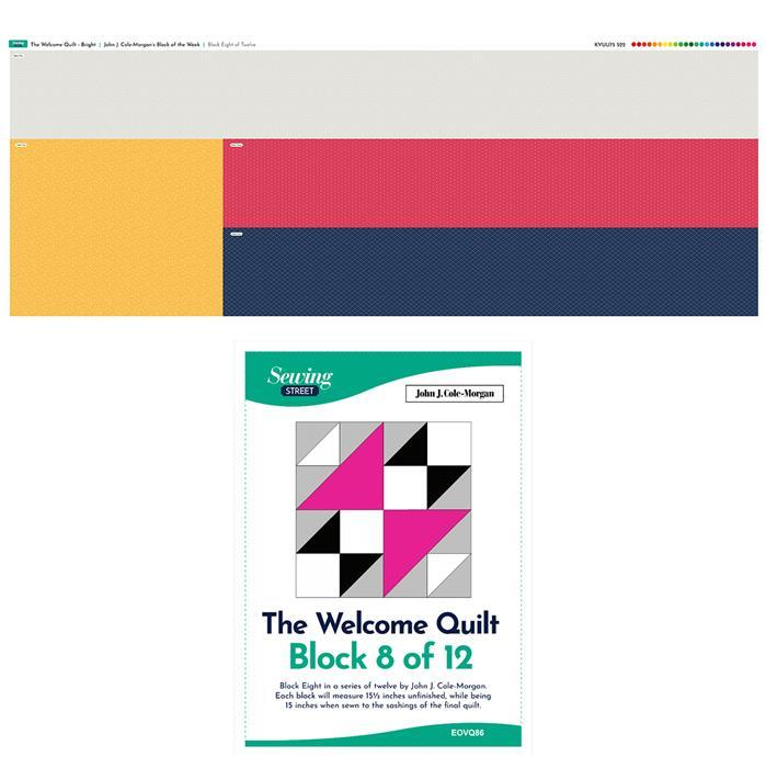 John Cole-Morgan's Block of the Week - Block 8. Bright 'Welcome Quilt' Block Kit: Fabric Panel & Instructions