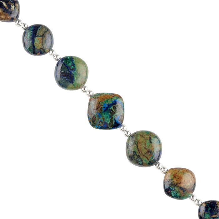 35cts Azurite Malachite Graduated Plain Fancy Cushions Approx 8 to 13mm, 8cm Strand.