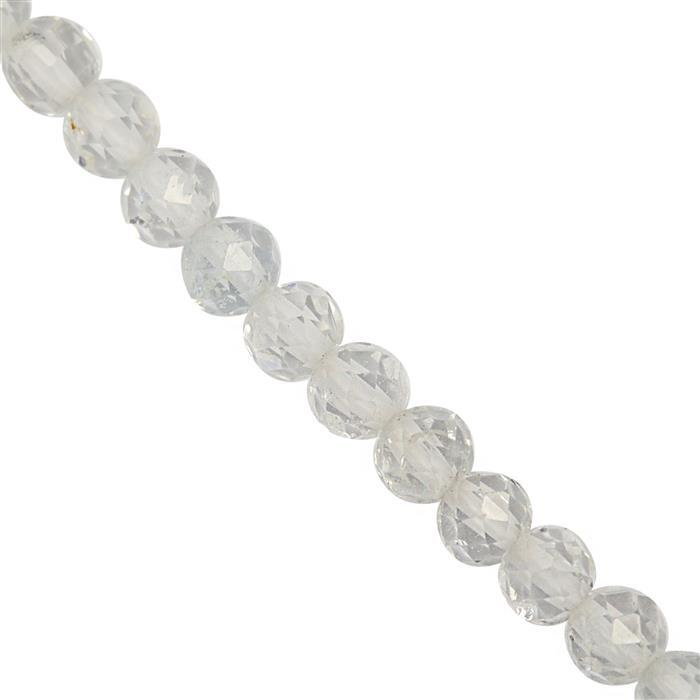 28cts White Topaz Faceted Round Approx 3.5x3.4mm 22cm Strand