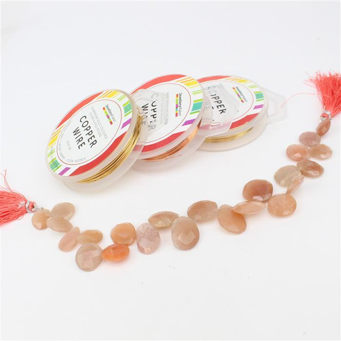 Peaches INC Peach Moonstone, 0.4mm Rose Gold & Champagne Wire & 0.8mm Champagne Wire