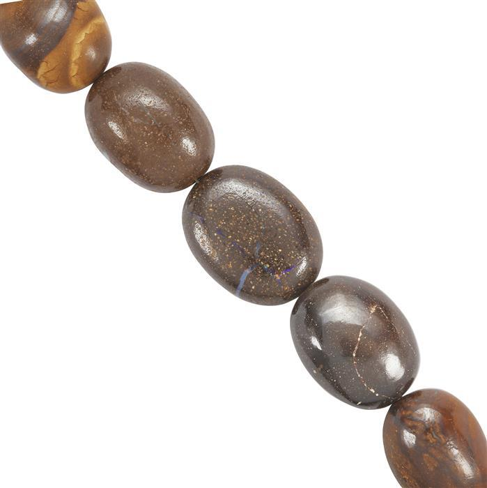 87cts Boulder Opal Plain Ovals 9.9x7.2mm to 16x12mm 14cm Strand