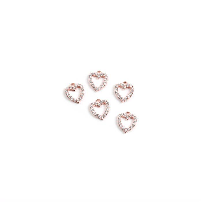 925 Sterling Silver and Cubic Zirconia Rose Gold Plated True Love Collection charms Approx 10X8mm 5pk