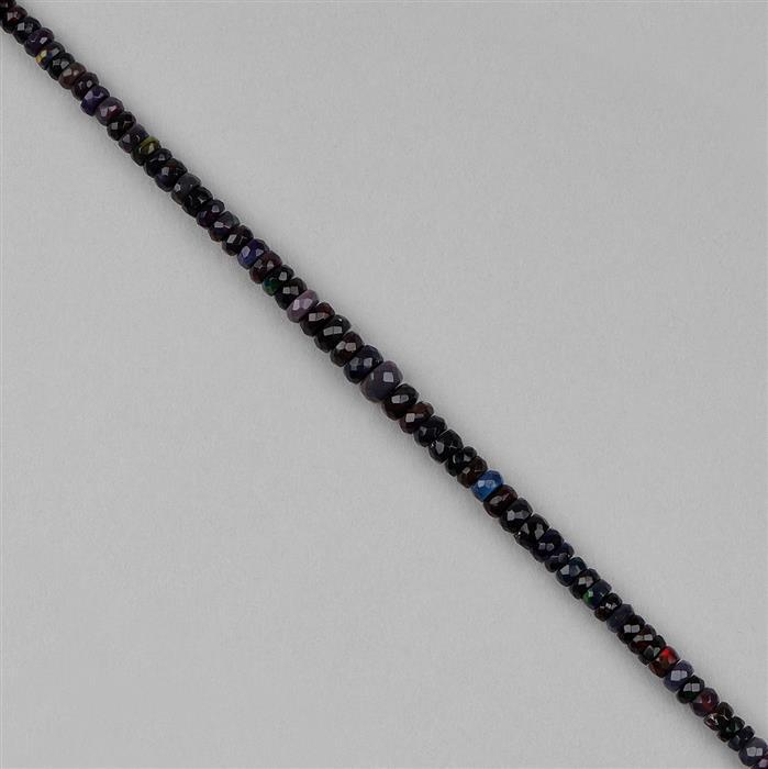 22cts Black Ethiopian Opal Graduated Faceted Wheels Approx 2x1 to 5x3mm, 18cm Strand.