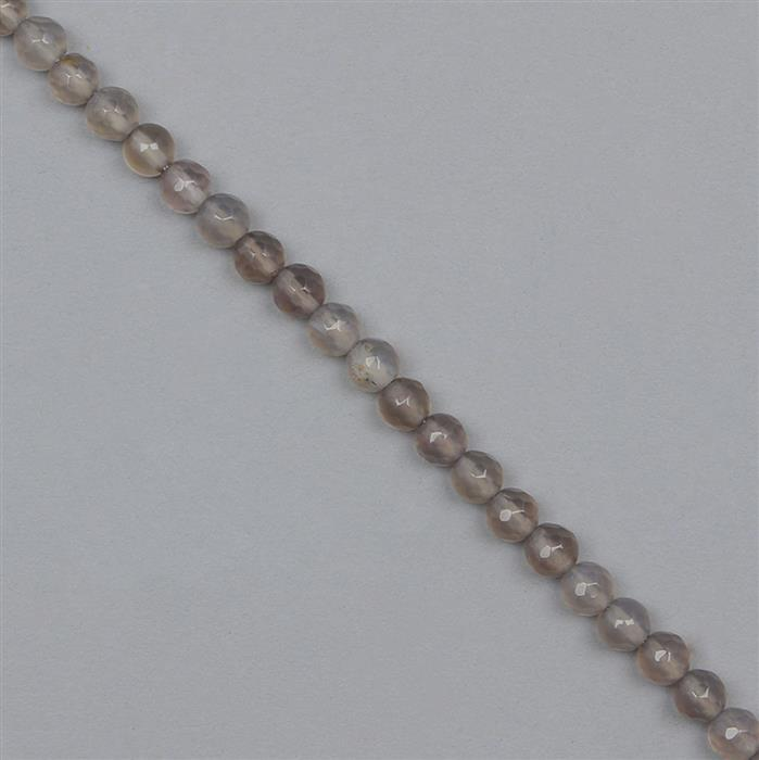 80cts Grey Agate Faceted Rounds Approx 5mm, 34cm Strand.