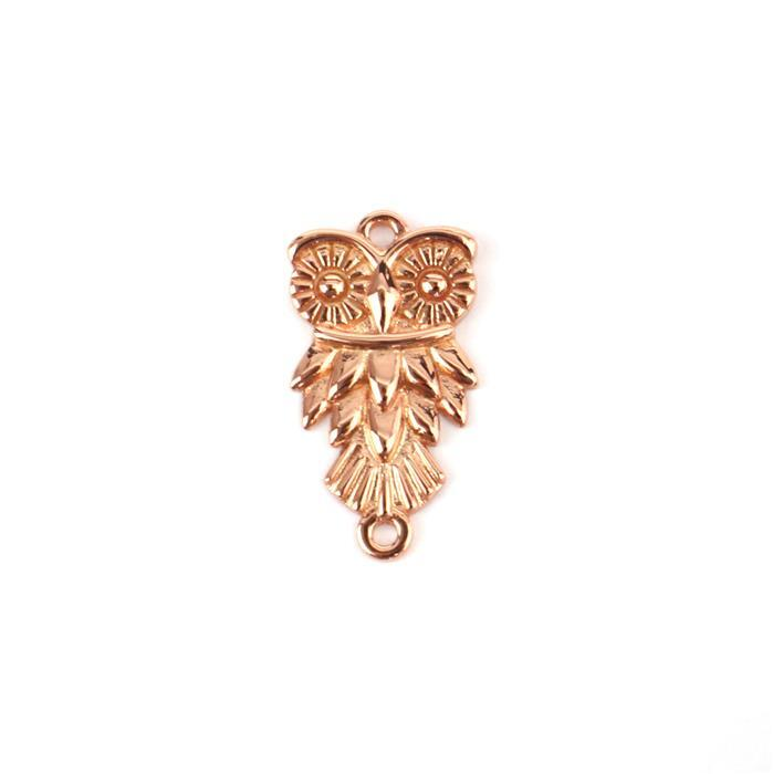 Rose Gold Plated 925 Sterling Silver Owl Connector Approx 24mm 1pcs