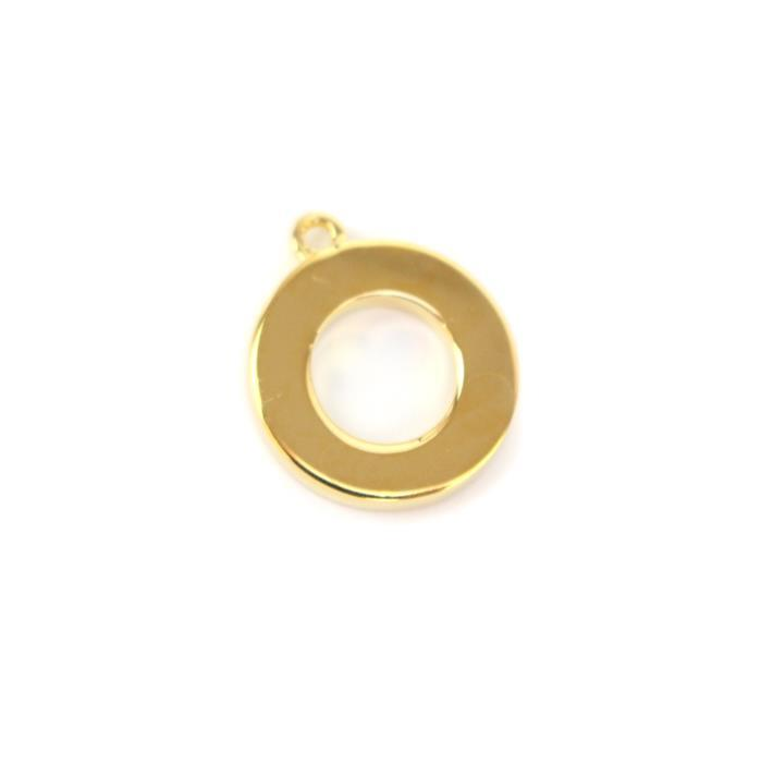 Gold Plated 925 Sterling Silver Circle Charm Approx 12x14mm 1pc