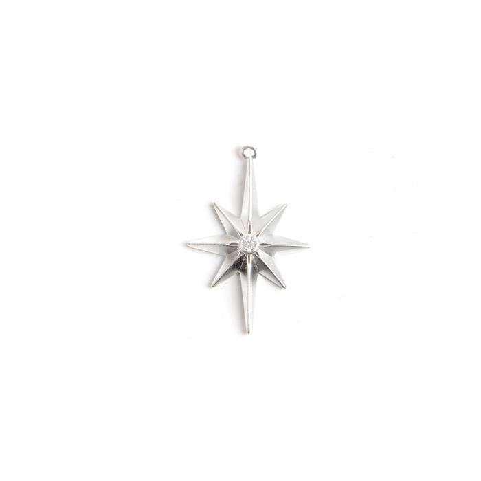 925 Sterling Silver North Star Pendant With CZ Approx 31x20mm