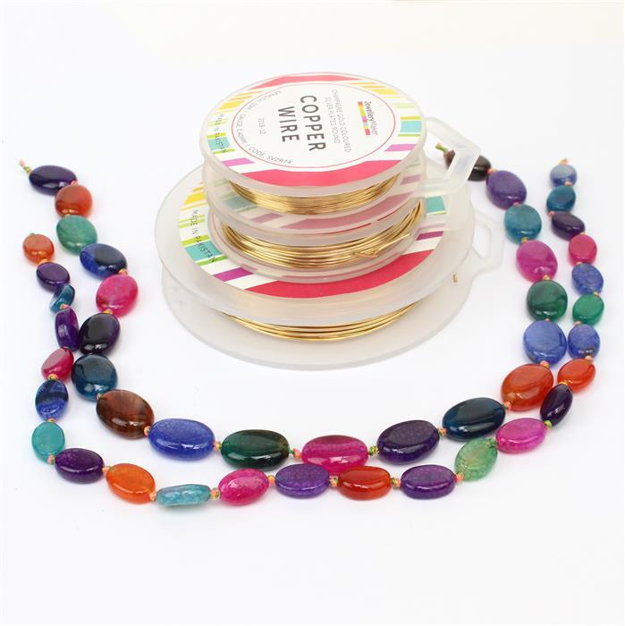 Colour Burst; 210cts Multi Colour Agate Ovals Approx  18x13mm & 120cts 14x10mm & Wire