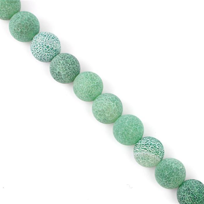 470cts Green Frosted Crackled Agate Plain Rounds Approx 14mm, 38cm strand