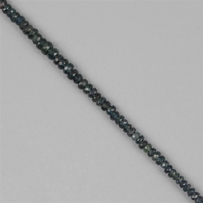 23cts Australian Sapphire Graduated Faceted Rondelles Approx 2x1 to 5x2mm, 18cm Strand.