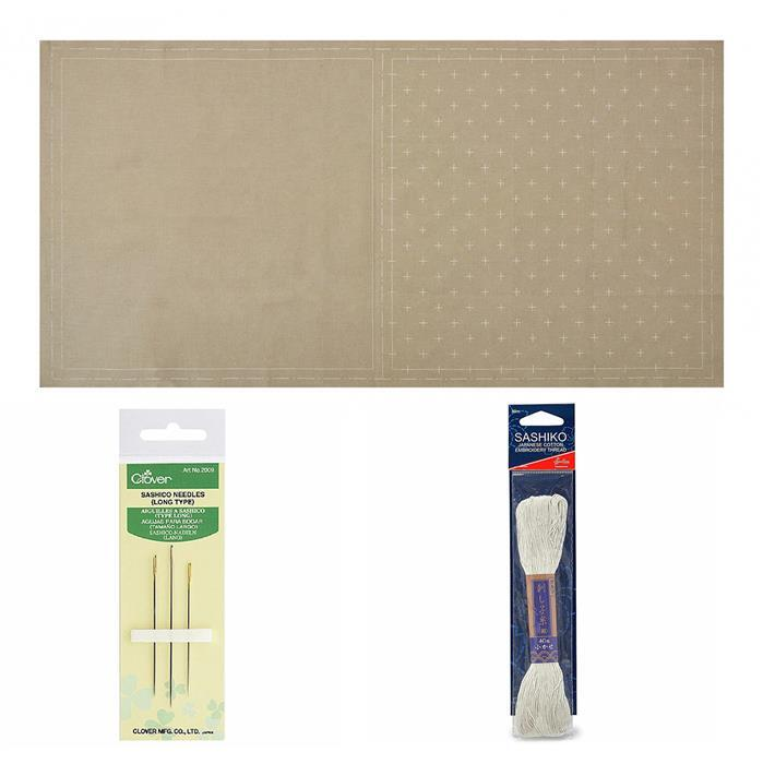 Sashiko Olive Mat Panel Kit: Panel, Thread & Needles