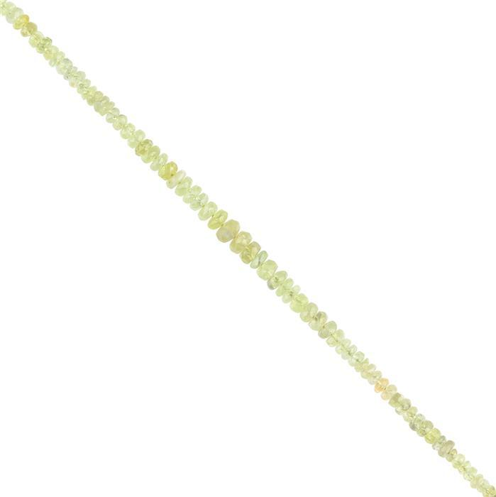 20cts Chrysoberyl Graduated Faceted Rondelles Approx 2x1 to 5x2mm, 18cm Strand.