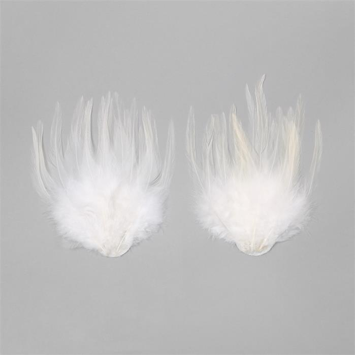 Natural Feathers Fan Approx 10x13cm 2pcs/set