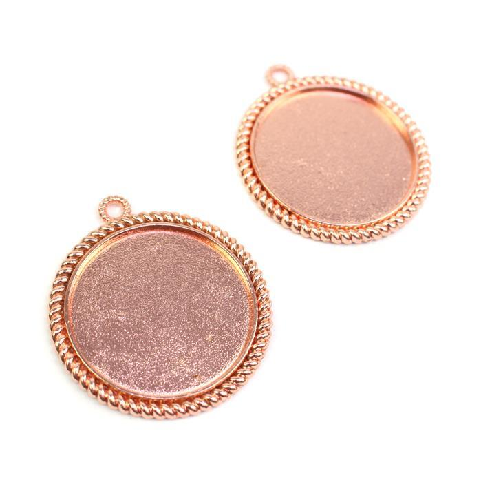 Rose Gold Color Round Bezel Pendant Approx 37mm Set of 2