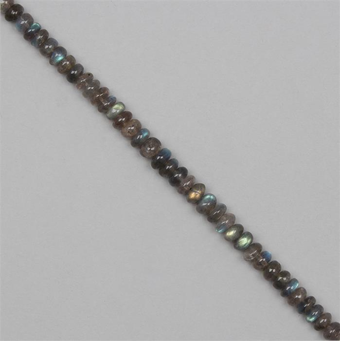90cts Labradorite Graduated Plain Rondelles Approx From 6x3 to 7x3mm, 22cm Strand.