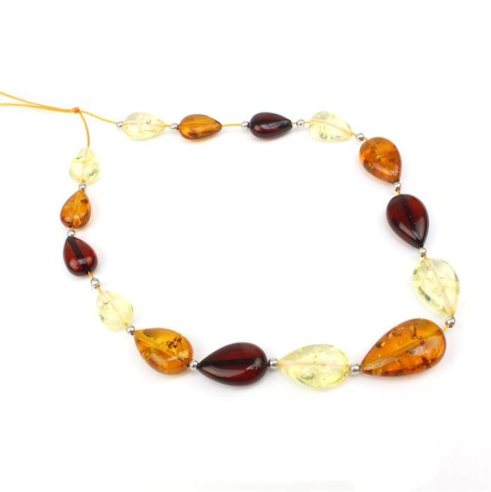 Baltic Multi-Colour Amber Graduated Drop Beads Approx 11x7mm-18x11mm Inc Sterling Silver Spacers, 20cm strand