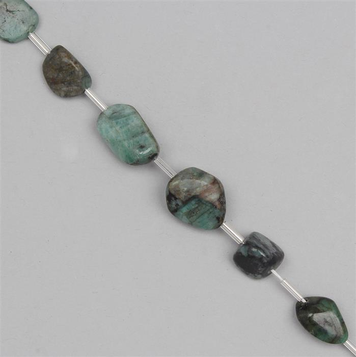 105cts Emerald Graduated Polished Tumbles Approx 9x8 to 18x13mm, 17cm Strand.