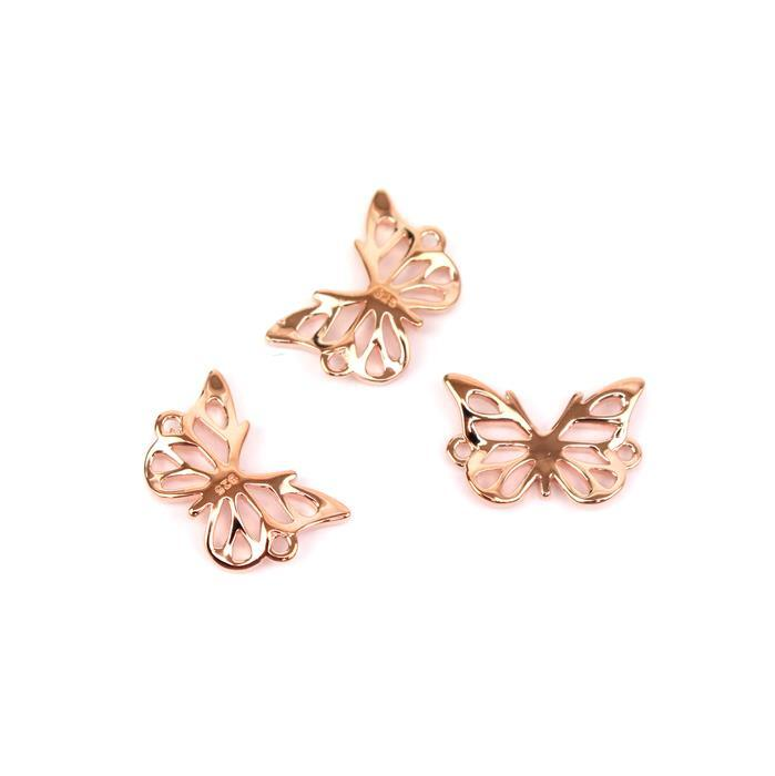 Rose Gold Plated 925 Sterling Silver 3D Butterfly Connectors Approx 10x15mm, 3pcs