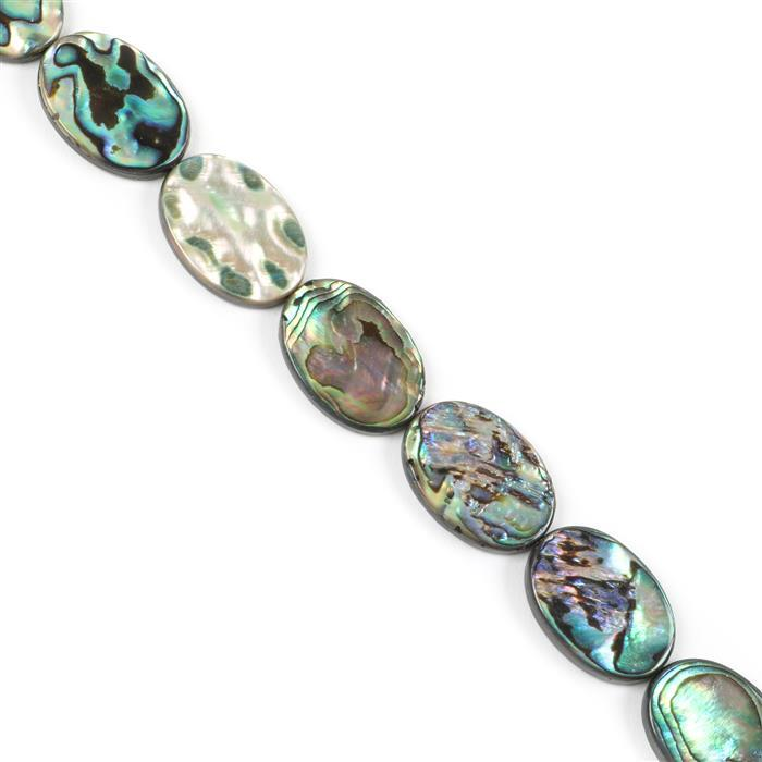 Abalone Flat Ovals Approx 25x18mm, Approx 38cm Strand
