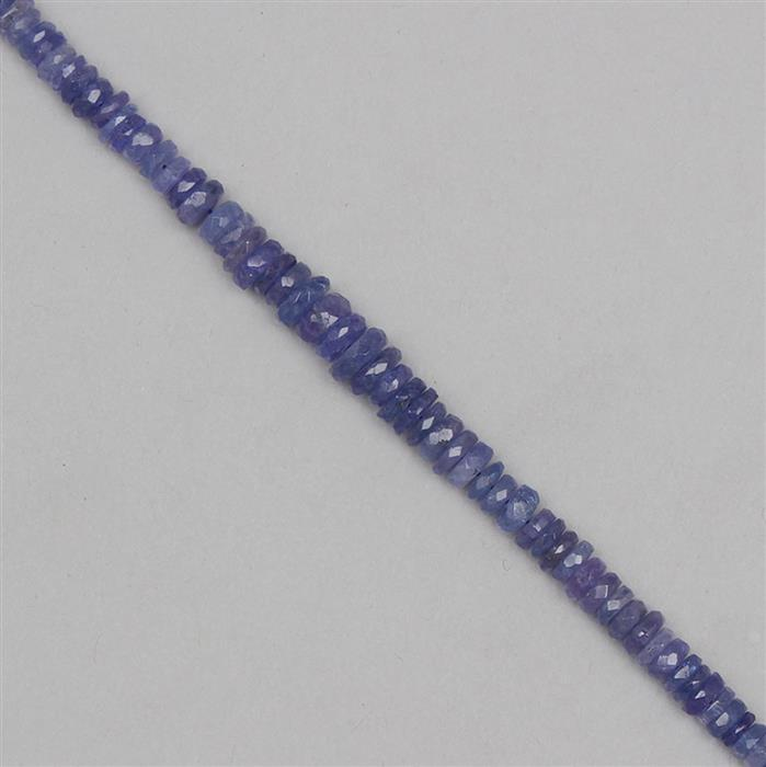 65cts Tanzanite Graduated Faceted Wheels Approx From 4x1 to 6x2mm, 18cm Strand.