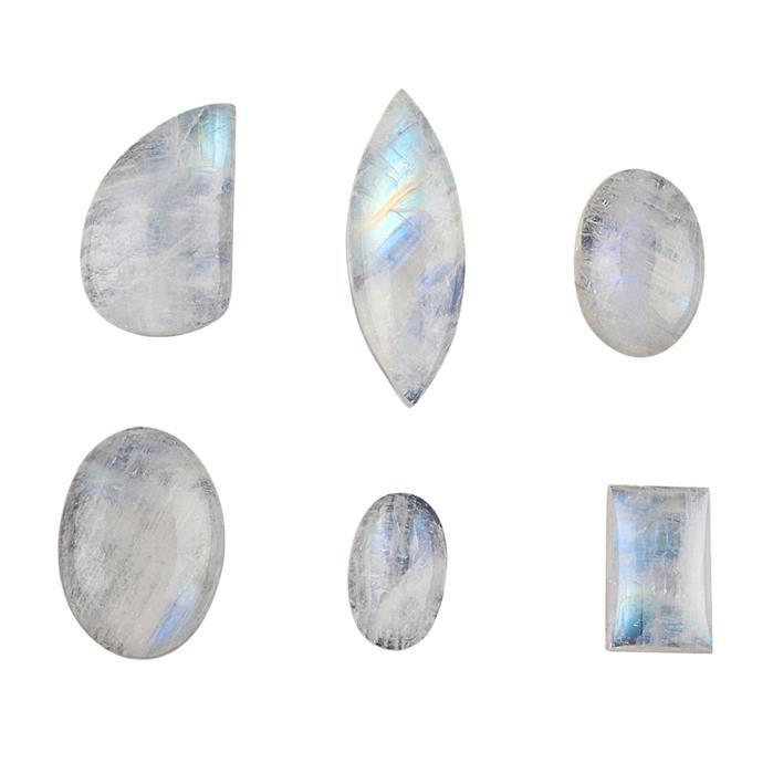 80cts Rainbow Moonstone Multi Shape Cabochons Assortment.