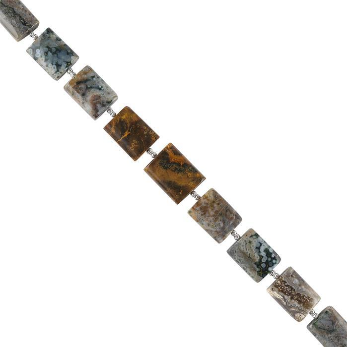 110cts Ocean Jasper Graduated Plain Rectangles Approx 14x10 to 16x12mm, 16cm Strand.