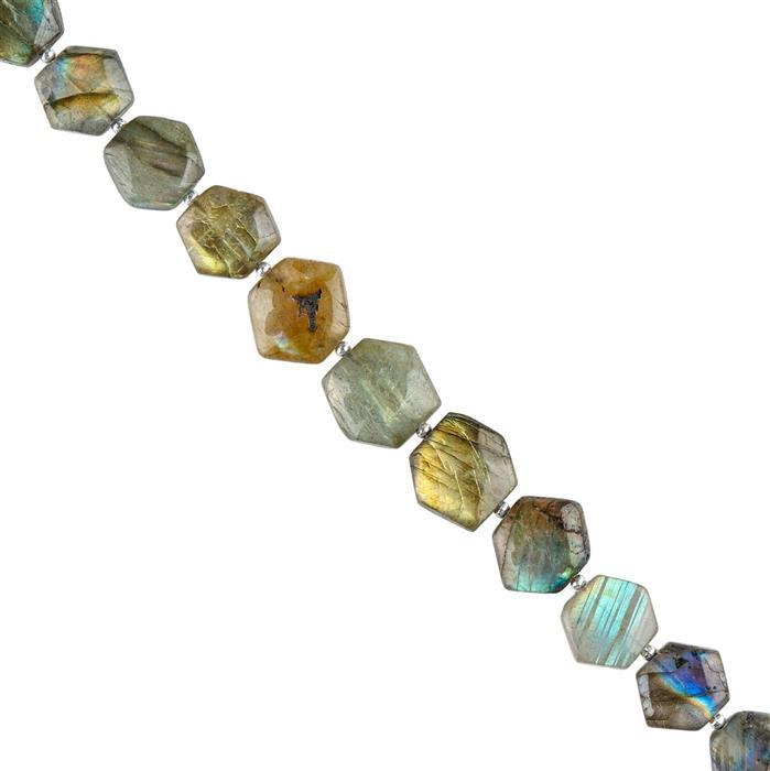 80cts Labradorite Graduated Plain Puffy Hexagons Approx 9 to 12mm, 16cm Strand.