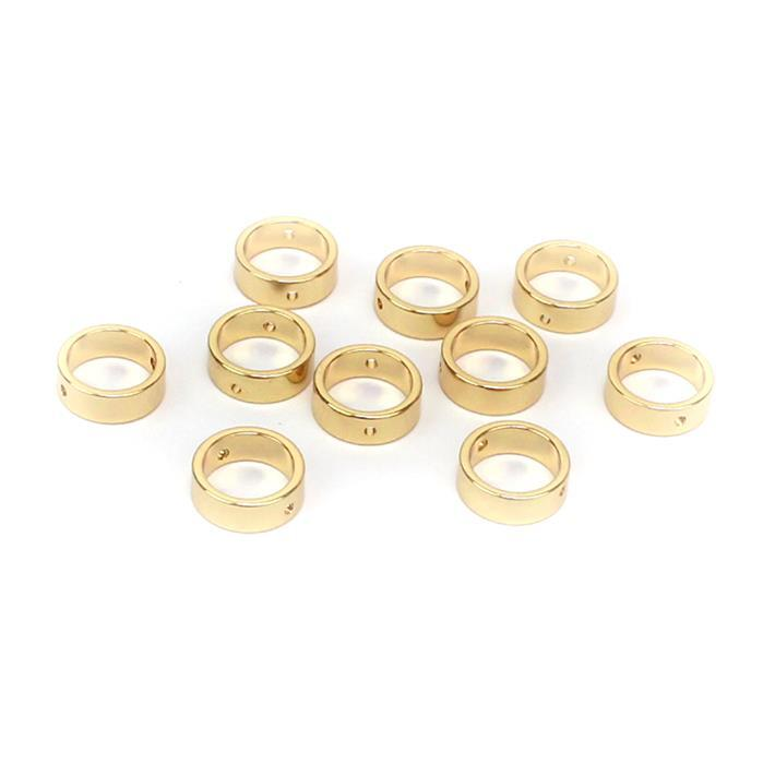 Gold Plated Base Metal Beads, Approx 10.3x3.5mm, ID 8.1mm (10pk)